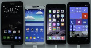 Home screens of phablets tested