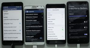 Four phablets, Accessibiity settings screen