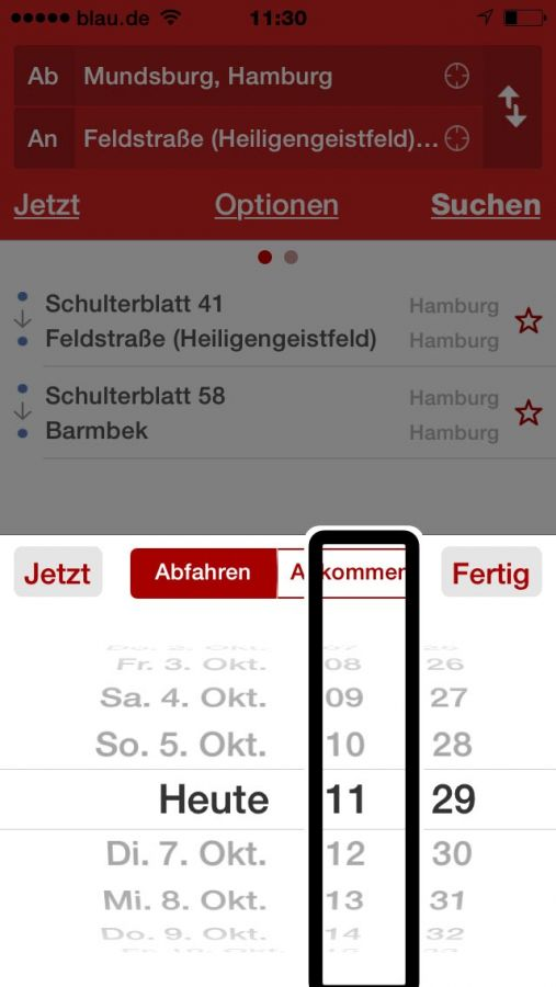 Screenshot der HVV-App (iOS) - Verbidnungssuche