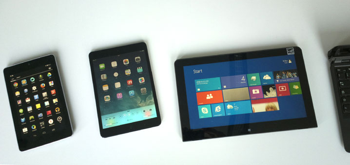 Tablets tested: Nexus 7, iPad mini,ThinkPad Helix