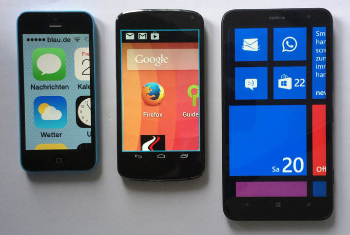 iOS, Android and Windows Phone: start screen magnified