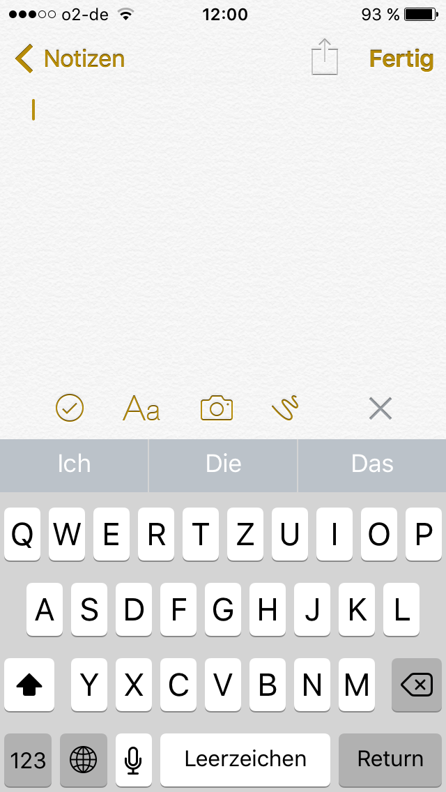 Screenshot der Notiz App unter iOS 9